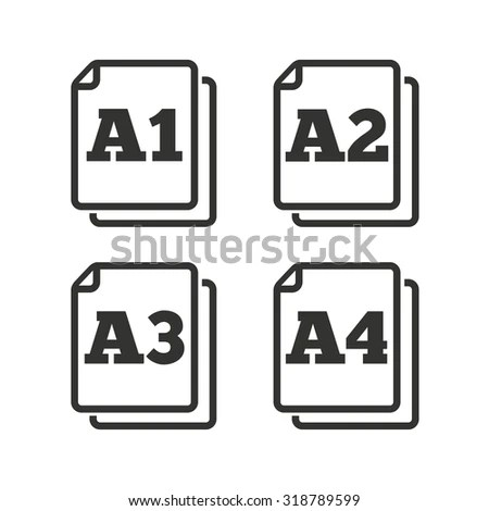 Paper Size Standard Icons. Document Symbols. A1, A2, A3