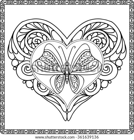 Love Heart with butterfly. Coloring… Stock Photo 361639094