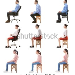 Posture Chair Sitting Covered Folding Free Photos Man With Good And Bad Isolated On White Avopix Com Collage Of People Poor Against