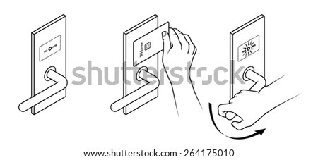 Electronic Keycard Door Opening Instructions Diagram. Tap