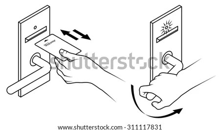 Electronic Keycard Door Opening Instructions Diagram