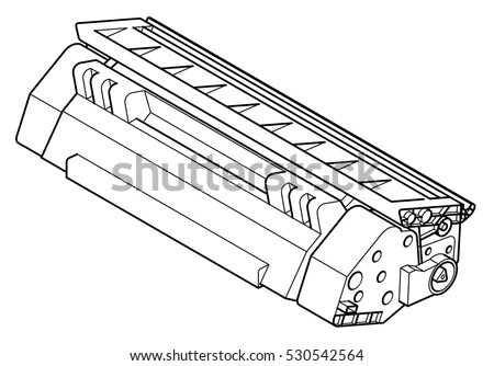 A Laser Printer Toner Cartridge In Line Drawing Style