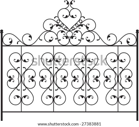 Wrought Iron Gate, Fence Design Stock Vector Illustration