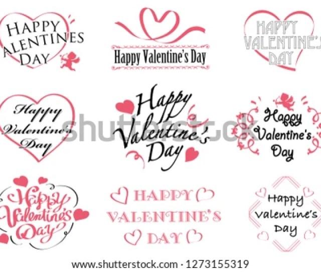Set Of Valentines Day Symbols Icons On White Background Vector Illustration