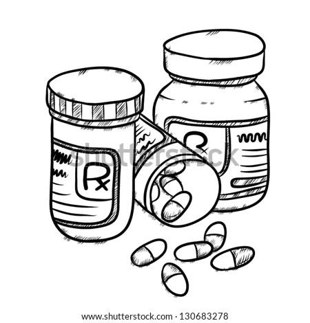 Vector Image Of Drug Bottles And Drug Pills, Capsules