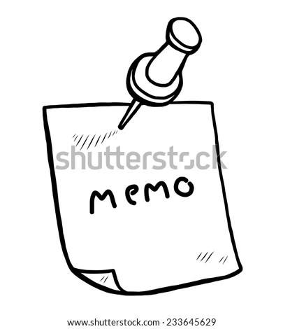 Memo, Note Paper And Pin / Cartoon Vector And Illustration