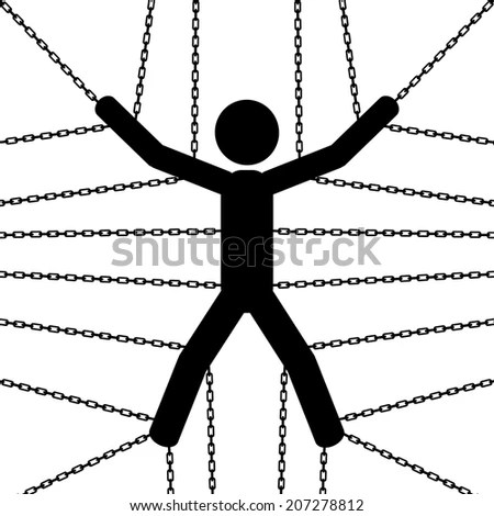 A Man Is Chained From His Hands And Legs. It Is A Stick