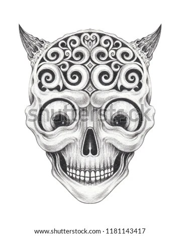 Skull art tattoo.Hand pencil drawing on… Stock Photo