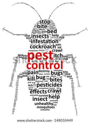 Pest Control Word Cloud Stock Vector Illustration