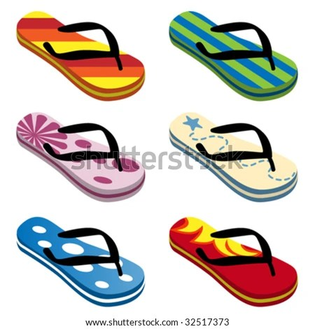 stock vector : beach sandals vector