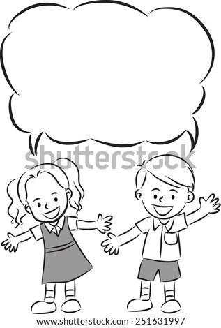 School kids with blank speech bubble Stock Photo 251632009