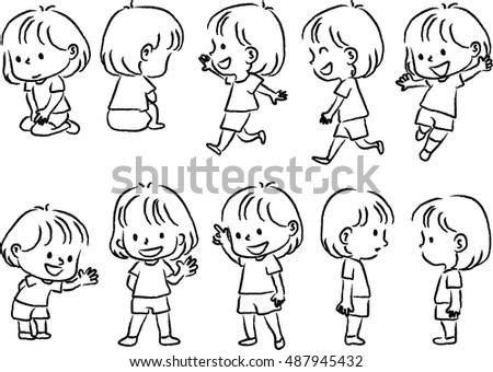 Royalty-free Children drinking lemonade. Monochrome