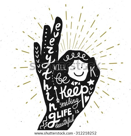 Vector Motivation Card With Hand Silhouette, Sunbursts