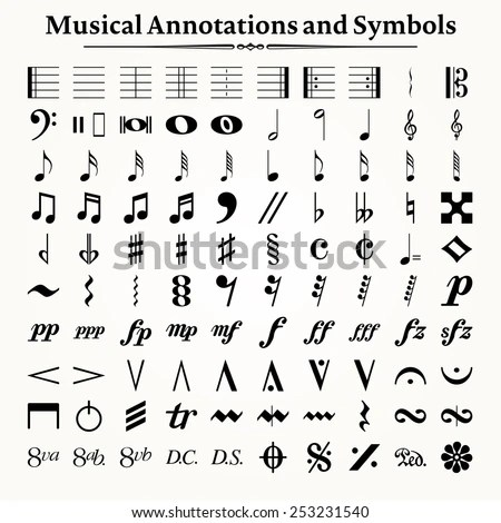 Elements Of Musical Symbols, Icons And Annotations. Stock