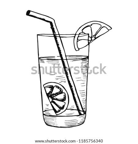 Orange juice in glass with slice piece… Stock Photo