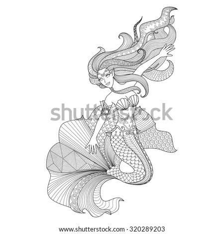 Detailed Zentangle Mermaid For Coloring Page Stock Vector