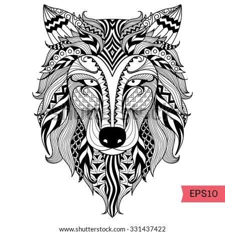 Royalty-free Vector ornamental head of Wolf, ethnic