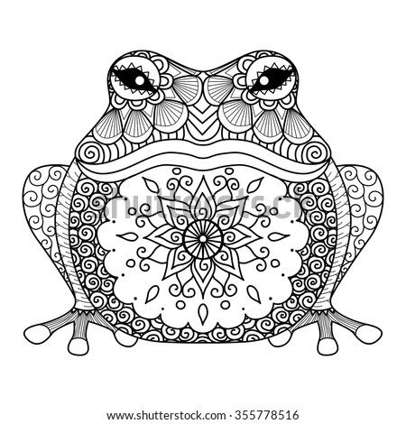 Cute Toddlers Playing Cartoon Wallpaper Hand Drawn Zentangle Frog For Coloring Book For Adult