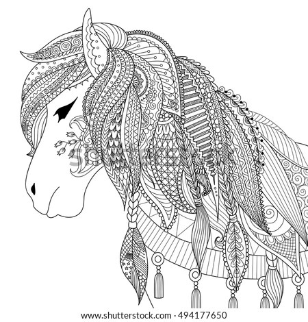 Royalty-free Hand drawn head of horse in graphic