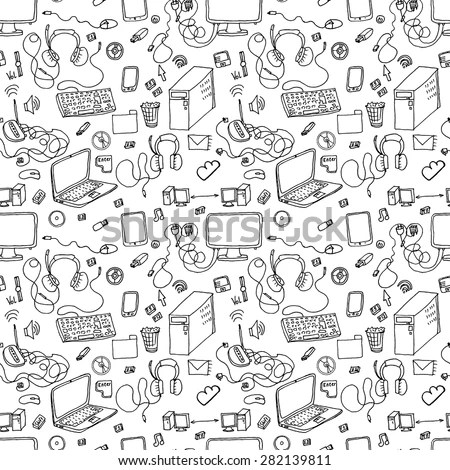 A Vector Seamless Pattern Of Hand Drawn Doodles Of