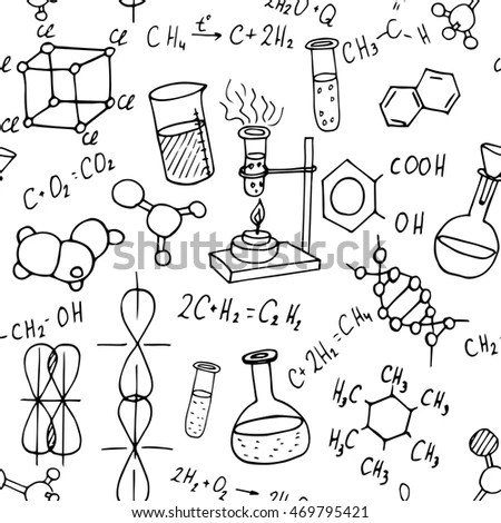 Royalty-free Chemistry sketch icons set on checked