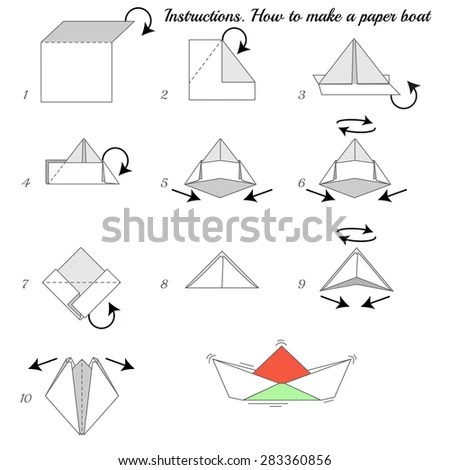 Instructions how to make paper ship.… Stock Photo