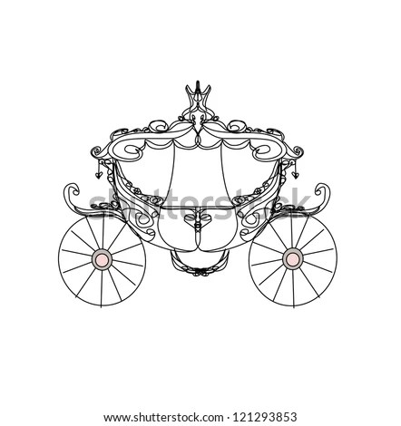 Royalty-free Old authentic rococo golden carriage