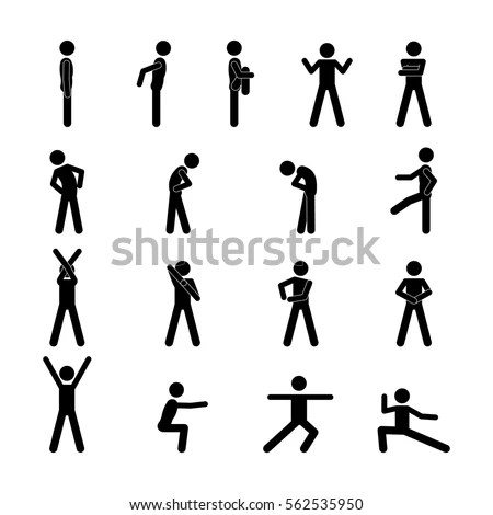 People vector icons set on gray Stock Photo 175948928