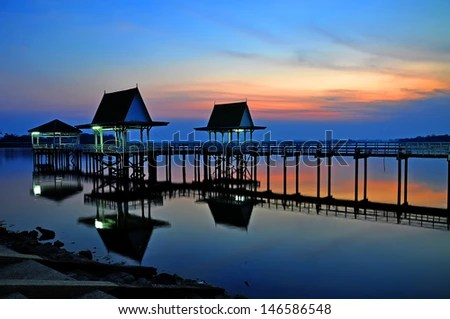 Sunset at Bueng See Fai, Phichit, Thailand  - stock photo