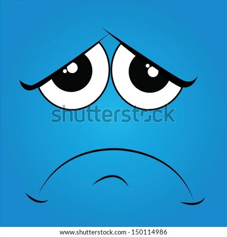 sad face on blue background - stock vector