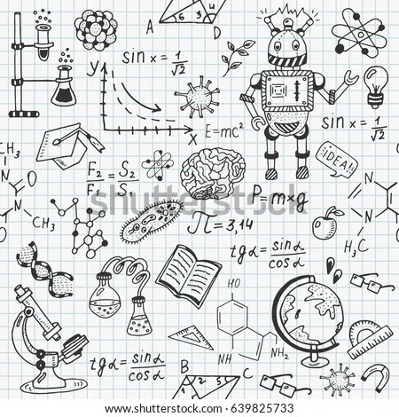 Seamless sketch of science doddle… Stock Photo 275879999