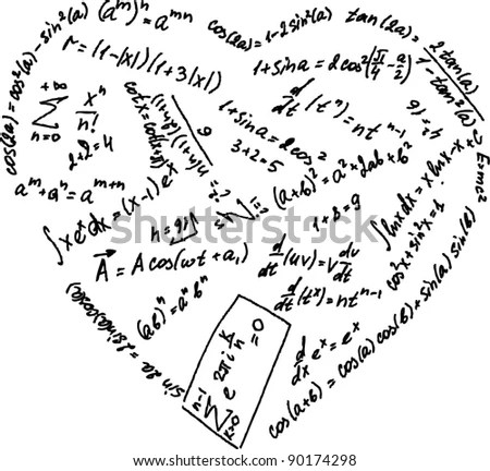 Mathematical Formulas In A Heart Shape Stock Vector