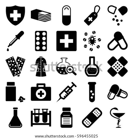 pharmacy icons set. Set of 25 pharmacy filled icons such
