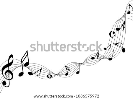 Various music notes on swirly staff Stock Photo 154617224