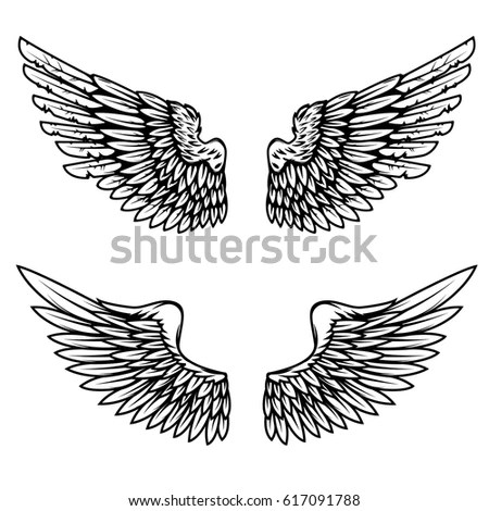 Set of eagle or angel wings for… Stock Photo 155712719