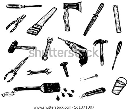 Doodle Hand Work Tool Equipment Icons/ Illustration Of A