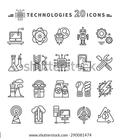 Royalty-free Thin lines icons set of ecology nature
