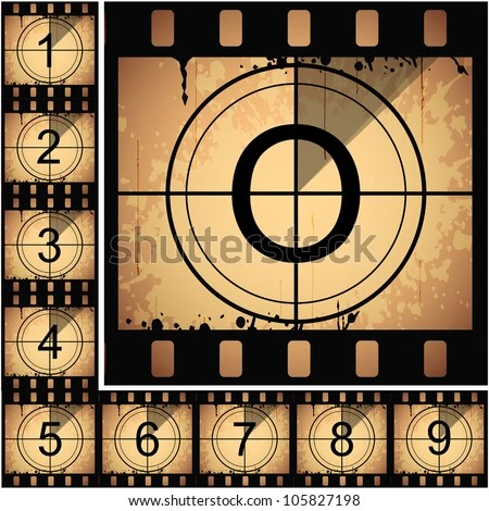 Illustration of film countdown. EPS 10. - stock vector