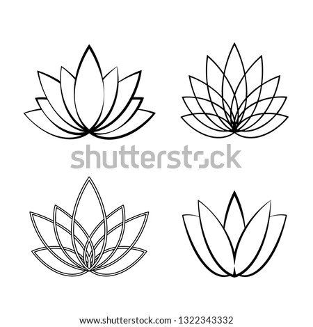 Four lotus silhouettes for design vector Stock Photo