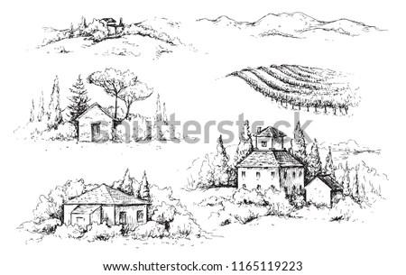 Farm sketch. Farming, agriculture,… Stock Photo 568396033