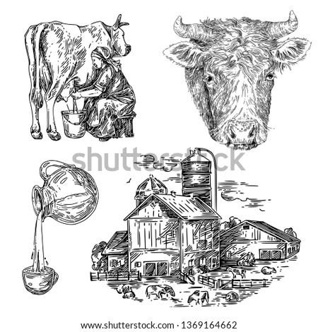 Landscape, agriculture, farming, sketch… Stock Photo