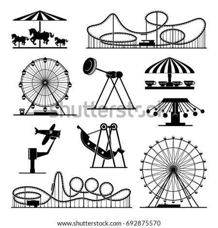 Amusement park pictogram set. Fun and… Stock Photo