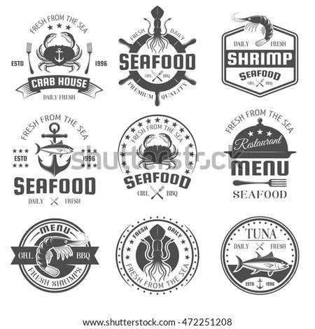 Set of vintage fishing labels, logo,… Stock Photo