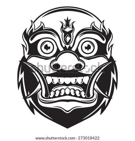 Balinese Monster Mask Outline Stock Vector Illustration