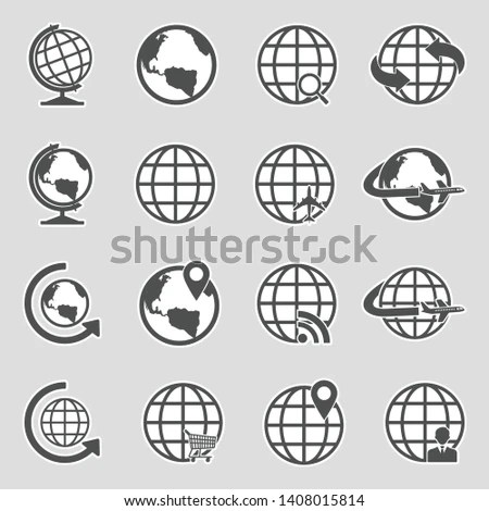 Globe earth with hands vector icons set… Stock Photo