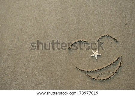stock photo : Handwrited face on the sand at the beach