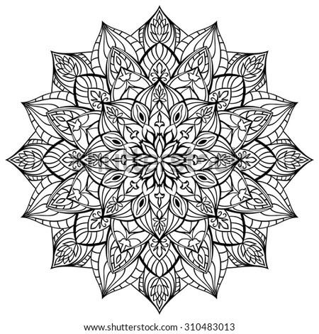 Geometric Mandala Of Black Lines On A White Background