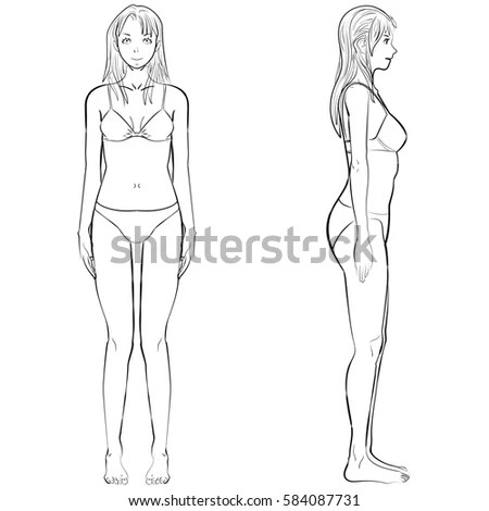 Vector sketch template girl… Stock Photo 530361382