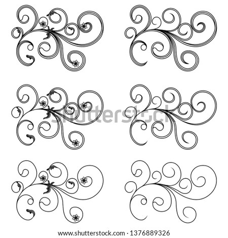 Collection of vintage floral silhouette… Stock Photo