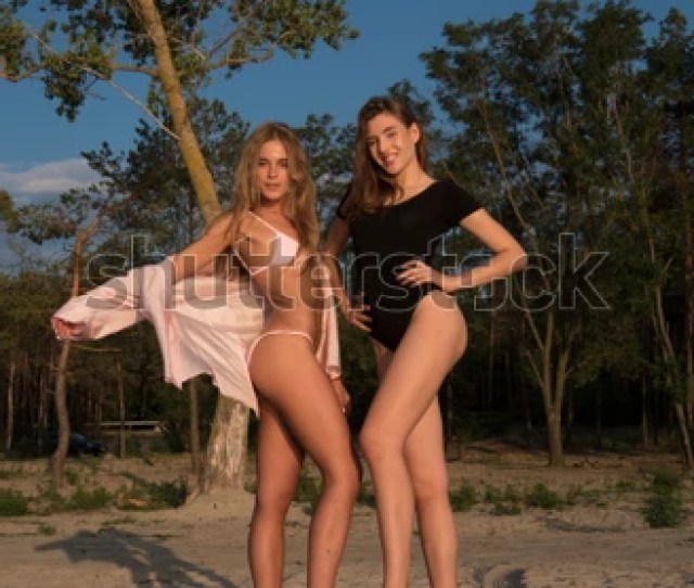 Two Young Sexy Girls In Swimsuits Near The Forest Sexy Fashion Models